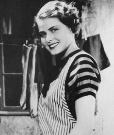 Ingrid:Bergman at 19 years of age in her first acting role in the film Munkbrogreven (The Count of Monk's Bridge), 1934 / Photographer unknown.