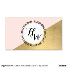 Edgy Geometric Circle Monogram Logo Gold/Pink Pack Of Standard Business Cards