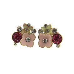 Flower-shape Enamel Stud Earrings ($12) ❤ liked on Polyvore