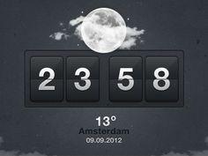 Weather Clock interface design by Bart Ebbekink Love Design, Ux Design, Weather Icons, User Interface Design, Flip Clock, Psd Templates, Infographic, Design Inspiration, App
