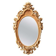 Gold Gilt and Painted Regency Style Oval Mirror | From a unique collection of antique and modern wall mirrors at https://www.1stdibs.com/furniture/mirrors/wall-mirrors/