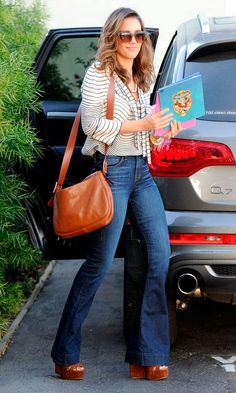 Jessica Alba looks lovely in this 70's look! Flared Jeans With Wedge Sandals...love this look on her