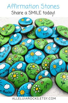 Smile Party Favors Rocks Set of Birthday Party Favors, Painted Stones for Children, Pocke. - Smile Party Favors Rocks Set of Birthday Party Favors, Painted Stones for Children, Pocket Pebb - Rock Painting Patterns, Rock Painting Ideas Easy, Rock Painting Designs, Paint Designs, Rock Painting Kids, Pebble Painting, Dot Painting, Pebble Art, Stone Painting