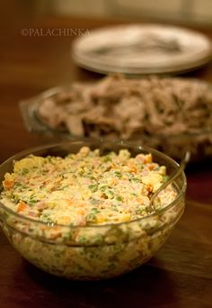Called Salade Olivier in Russia, it is traditionally served on New Year. Serbians refer to it as Ruska Salata and prepare it for large gatherings and special occasions. Serbian Recipes, Ukrainian Recipes, Russian Recipes, Russian Foods, Serbian Food, Bosnian Food, Good Food, Yummy Food, International Recipes