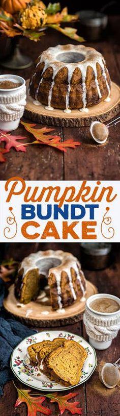 A wonderfully autumnal pumpkin bundt cake with chai glaze – rich, moist and  delicious.