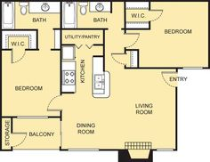 Renoir Floor Plan - 2 Bath with approximately 966 square feet. 2 Bedroom Floor Plans, Small Studio, Renoir, Square Feet, The Neighbourhood, Bath, Flooring, How To Plan, House
