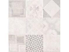 Feinsteinzeug Dolmen Dekor Weiß 80 cm x 80 cm