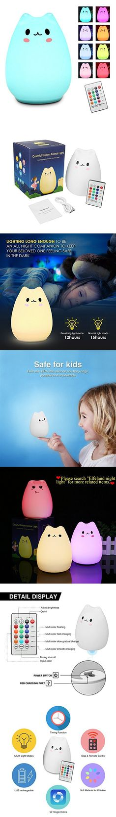 Children Night Light with Remote - Elfeland Cute Kitty LED Portable Silicone Cat Lamp - 12 1 Colors - Adjustable Brightness - Timing off - USB Rechargeable - for Baby Kids Christmas Gift