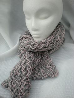 """Super Soft Chunky Knit Scarf - light gray and light heather pink - 52"""" long"""