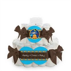 Under The Sea Critters - 2 Tier Personalized Square - Baby Shower Diaper Cake
