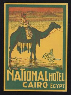 Vintage National Hotel, Cairo, Egypt luggage label