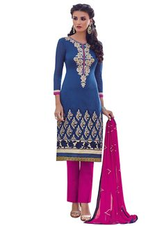 Buy Denim Blue Chanderi Cotton Straight Pant Suit online from the wide collection of Salwar Kameez. This Blue colored Salwar Kameez in Chanderi fabric goes well with any occasion. Shop online Designer Salwar Kameez from cbazaar at the lowest price.