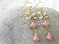 Rose Pink Teardrop Glass Stone and Bow Dangle Earrings
