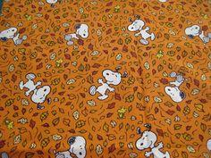 "Snoopy Peanuts Leaves Fall Autumn Fabric - Fat Quarter 18"" x 21"""