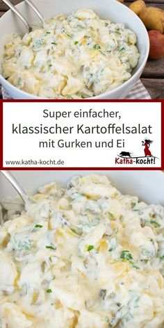 Classic potato salad - a simple recipe - Katha-kocht! - There is nothing like a classic potato salad – this version with cucumber and egg is also prepare - Salmon Recipes, Potato Recipes, Meat Recipes, Slow Cooker Recipes, Cooking Recipes, Meat Appetizers, Appetizer Recipes, Classic Potato Salad, Avocado Dessert