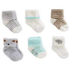 Just One You™Made by Carter's® Baby 6 Pack Computer Socks - Grey/White : Target