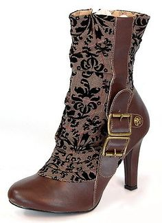Womens Victorian Steampunk Cosplay Brown Tweed Spat Boots 885487480206 | eBay