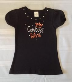 Custom OSU Oklahoma State University Cowboys Diva with Crown Embroidered Tee! Custom Embroidered Baby Onesie, Baby Tee's & Toddler Tee's! Message Me for Your Custom Vinyl & Embroidered Onesie & Toddler Shirt! All Onesies & Toddler Shirts Can be Customized with Rhinestones, Bows, Different Teams, Colors, & Patterns! Makes for a Perfect Gift for Baby Showers, New Baby, & Birthdays! www.petesboutique.etsy.com