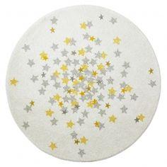 Kinderteppich rund \'Sterne\' natur/gold/silber Ø 120cm