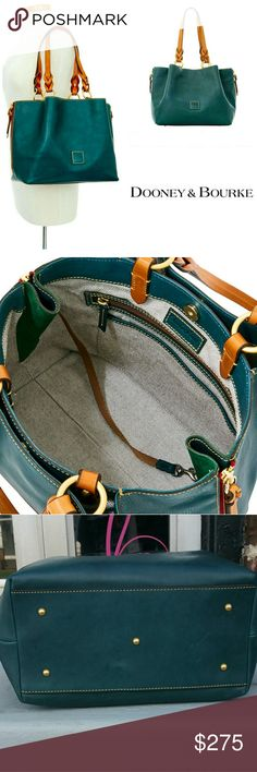 "Dooney Bourke Large Florentine Barlow Satchel Soft pleated side zip florentine leather in limited edition deep teal green color. Pleats feature red zippers and green microfiber detailing. Braided, rolled handles and structured shape add lady like chic look. Magnetic closure. Two outside snap pockets. Two interior slip pockets, key hook. & credit card slot. Footed. Gold hardware. 5"" hand drop. Detachable strap with 18"" drop. 13 L x 10 H x 5.5 W. Dust bag. Next to new excellent condition…"