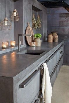 Concrete Kitchen Design Combine MOLITLI creative designs with top German kitchen supplier's superior quality materials and what do you get? The perfect mix of an all-original, highly innovative, unique and trendy, awe-inspiring kitchen concept! German Kitchen, New Kitchen, Kitchen Dining, Kitchen Decor, Design Kitchen, Kitchen Grey, Stone Kitchen, Kitchen Wood, Kitchen Cabinets