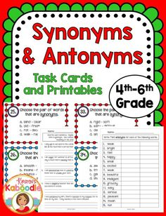 Take synonyms and antonyms a step further with this upper elementary task cards and printables product for fourth grade, fifth grade, and sixth grade.  These easy to use and ready to go printables include anchor charts, task cards, and printables.  Teaching synonyms and antonyms has never been easier!