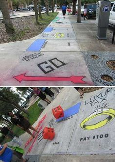Sidewalk Monopoly - adult fun with chalk!!!
