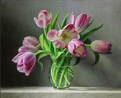 Tulipanes rosados holandeses. Obra de Pieter -Wagemans.  Gentileza René van de Beld.