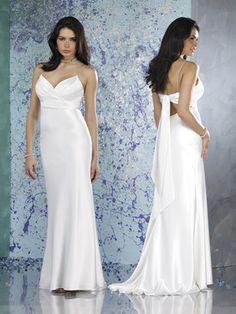 Spring Simple Empire Wasit Spaghetti Straps Sashe / Ribbon Satin Sweep Train Wedding Dress for Brides