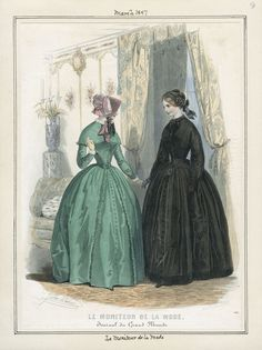 1847 March   Le Moniteau de la Mode   bishop sleeves on mourning dress