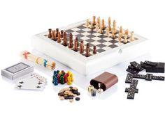 7tlg. #Spieleset inkl. #Mikado, Spielkarten, #Domino, #Schach, #Backgammon, Mensch-ärgere-dich-nicht, 2 schwarzen und 2 weißen Würfeln.