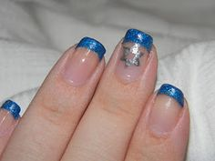A French manicure in holiday colors.