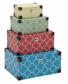 This decorative set of 4 Quatrefoil Pattern Rectangular Storage Boxes are made of wood and vinyl. They range in width from 9 to 17 inches. Storage Boxes With Lids, Storage Containers, Storage Sets, Small Storage, Decorative Objects, Decorative Boxes, Quatrefoil Pattern, Patterned Vinyl, Wood Vinyl