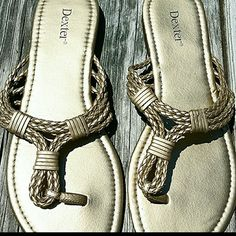 Beautiful Gold Sandals. ..Like New!! Very pretty flat gold sandals with braided rope strap. These are great for casual daytime fun or to dress up at night. Really good condition. ..only worn a couple of times. So pretty!! :D Dexter Shoes Sandals