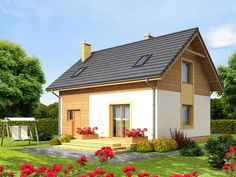 DOM.PL™ - Projekt domu ARN CYNAMON CE - DOM RS1-29 - gotowy koszt budowy Traditional House, Gazebo, Outdoor Structures, How To Plan, Mansions, House Styles, Outdoor Decor, Diana, Home Decor