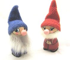 Cute wooden dwarfs from Soviet era -with blue and red coats and hats - adorable Christmas decor by RETROisIN on Etsy https://www.etsy.com/listing/209833069/cute-wooden-dwarfs-from-soviet-era-with