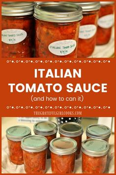 Homemade Italian-style tomato sauce is used in lots of food (pizza, spaghetti, etc. Learn how to make this classic sauce, and can it for long term storage! / The Grateful Girl Cooks! How To Make Tomato Sauce, Tomato Pizza Sauce, Italian Tomato Sauce, Roasted Tomato Sauce, Tomatoe Sauce, Homemade Spagetti Sauce, Homemade Tomato Sauce, Tomato Sauce Recipe, Canned Tomato Sauce
