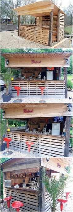 You can stylishly bring about the use of the wood pallet in the inspiring bar idea too. You can put the arrangement of the pallet plank slats over the whole bar counter and make it fill up with the customary fantastic decoration turnover.