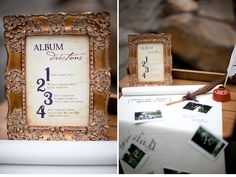"""Harry Potter-themed guest book:  """"1. Snap a magic photo.  2. Watch it develop right before your eyes.  3. Use a permanent sticking charm to paste it into the album.  4. Sign your well wishes for the new Mr. & Mrs. under your photo.""""  CUTE idea! Just without all the harry potter junk..."""
