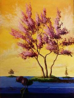 Original Painting #painting #art #acrylicpainting #pink #tree #nature Acrylic Paintings, Art Paintings, Painting Art, Landscape Paintings, Original Paintings, Awesome Paintings, The Originals, Nature, Pink