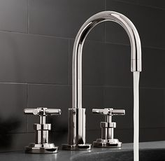 Sutton Cross-Handle Widespread Faucet Set restoration hardware / cupcakes and cashmere had it brass plated Modern Bathroom Faucets, Modern Bathroom Design, Sink Faucets, Master Bathroom, Bathroom Ideas, Bathroom Images, Downstairs Bathroom, Sinks, Modern Design