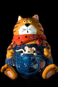 Cat & Mouse Cookie Jar
