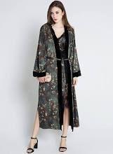 Sumi Women's Kimono wrap - Watercolor Floral, Yurina- Slate