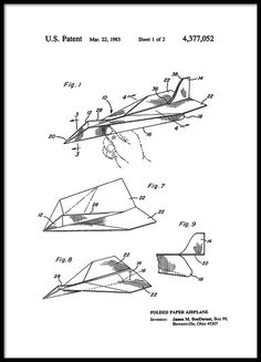 Paper airplane Patent Poster i gruppen Posters  / Vintage hos Desenio AB (2347)