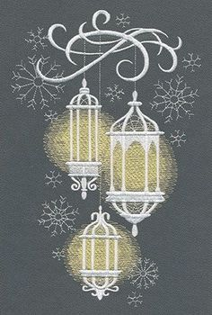 "708673 Lanterns in the Snow design (UT7197) from UrbanThreads.com (29,188 stitches) 5.87""w x 9.21""h"