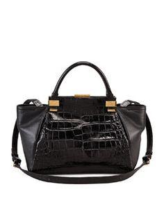 V1MA9 Lanvin Trilogy Calfskin Tote Bag, Black $2490