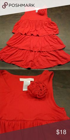 Girls Janie and Jack red ruffled dress sz 4 Cute and comfy. Super soft dress in bright red from Janie and Jack. Sz 4. Tank style. Rayon/spandex blend. Great condition but has been worn and loved. Smoke free, pet free home. Janie and Jack Dresses Casual