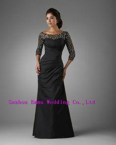 Custom Made 2014 New Dress Fashion Party A-Line Three Quarter Floor Length Beaded Taffeta Burgundy Mother Of Bride Dresses