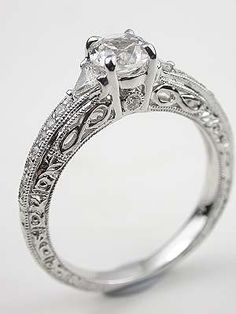White Sapphire Engagement Ring with Infinity Motif -- almost just died at this one! I LOVE this ring! Love the white sapphire! Vintage Style Engagement Rings, Filigree Engagement Ring, Engagement Jewelry, Vintage Rings, Wedding Engagement, Wedding Anniversary Rings, Wedding Rings, Champagne Diamond, Gold Set