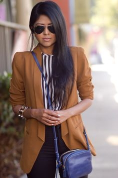 Stripes mellowed with a blazer Camel Blazer, Dressed To Kill, Dress To Impress, Womens Fashion, Ladies Fashion, Classy, Street Style, Style Inspiration, Wonderland